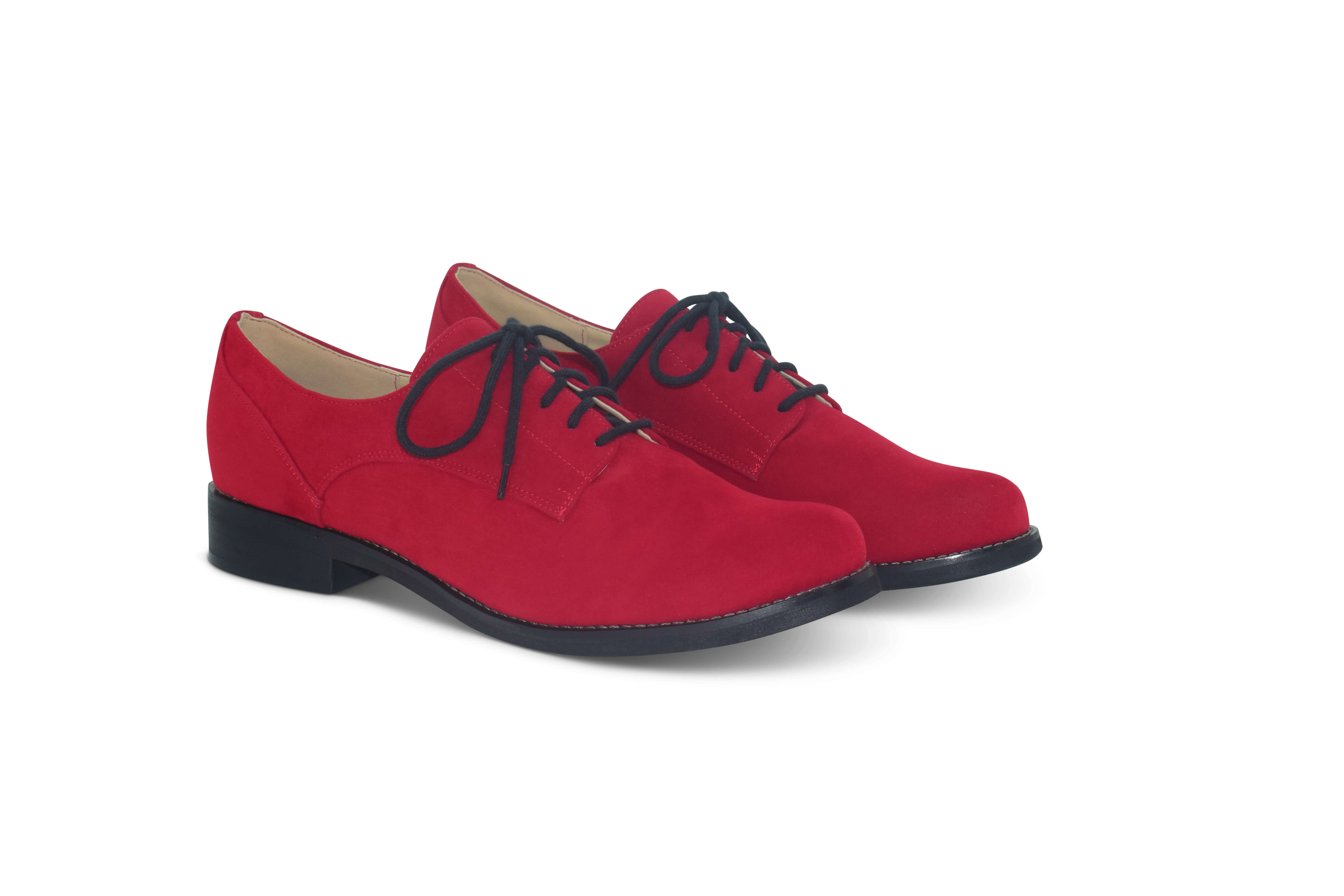Olga rounded toe Oxfords - red