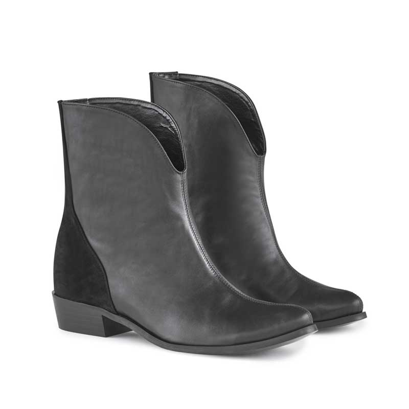 Pippa Black Leather Cowboy Boots