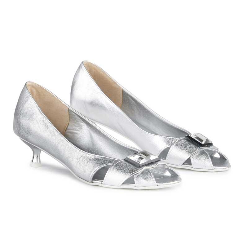 Poppy Silver Peep-toe Kitten Heels