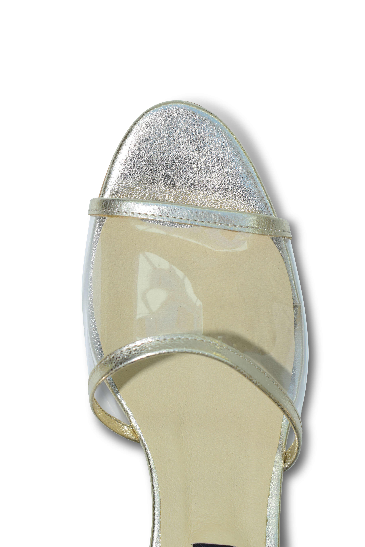 Plexi strap open-toe mules - gold