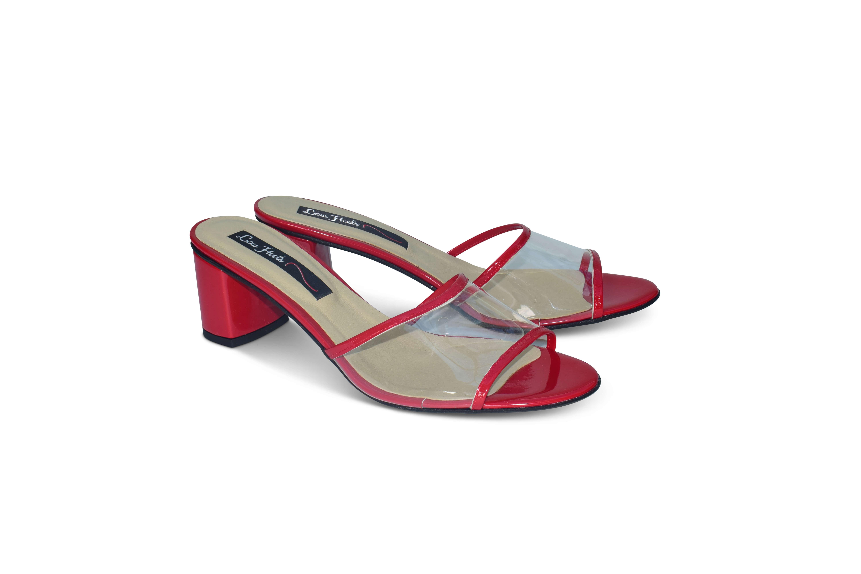 Plexi strap open-toe mules - red