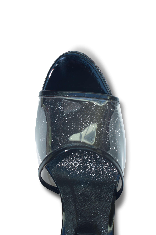 Plexi strap open-toe mules - black
