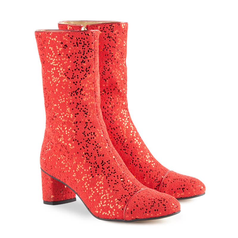Amelie red glitter heeled ankle boots