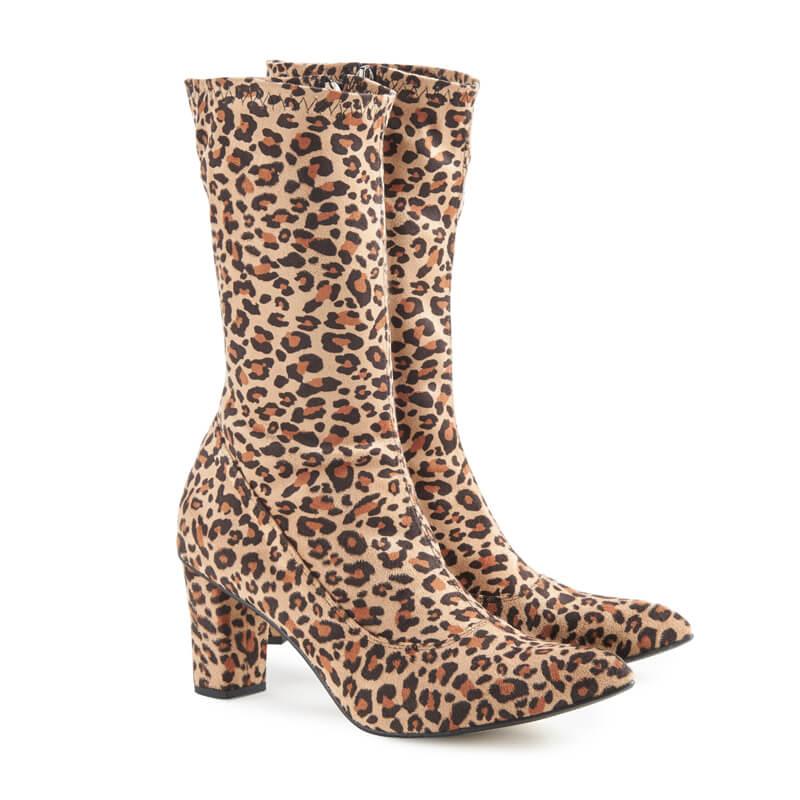 Aga leopard-print heeled sock boots