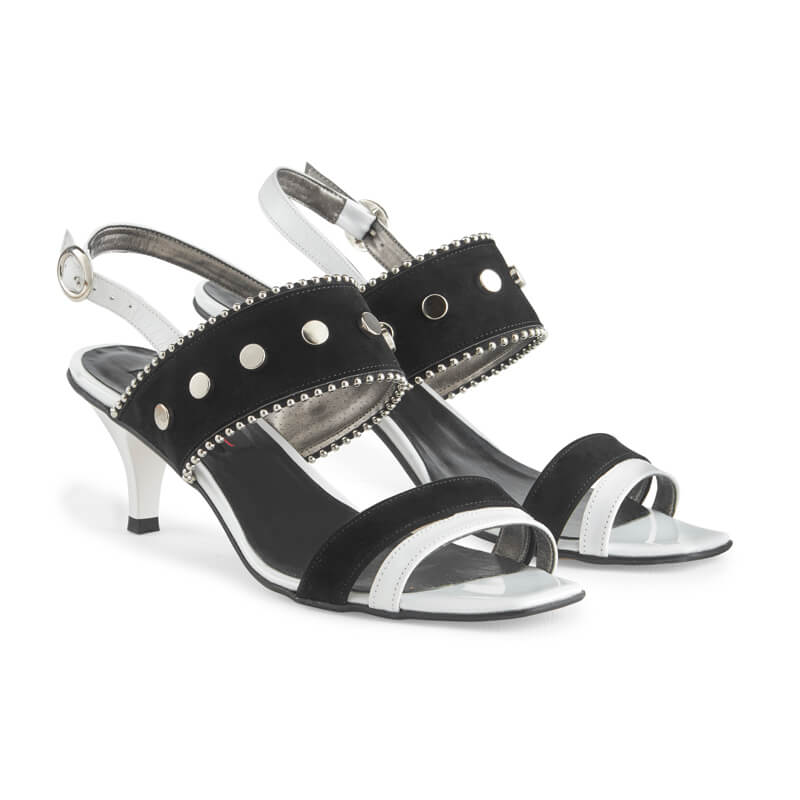 Gabrielle black & white leather sandals