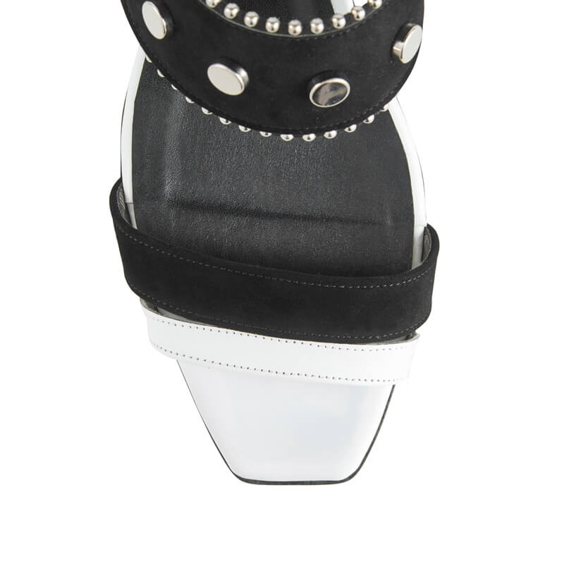 Gabrielle black & white leather sandals