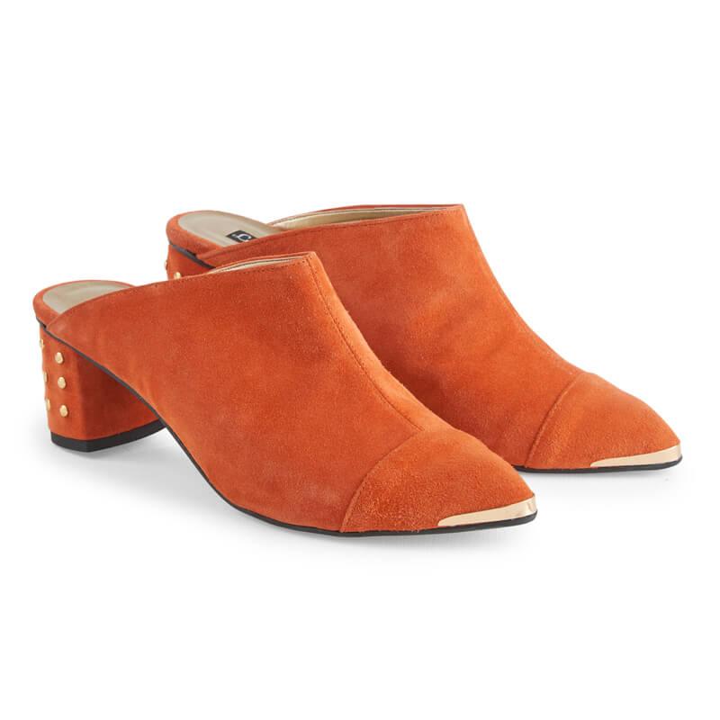 Adele orange suede closed toe mules