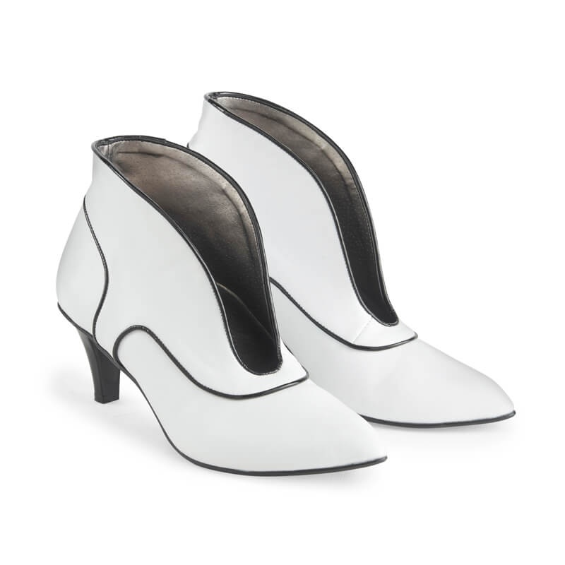 Vivienne white leather open front ankle boots