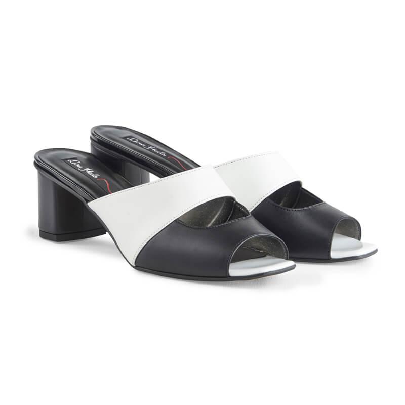 Bobbi black & white leather square-toe mules