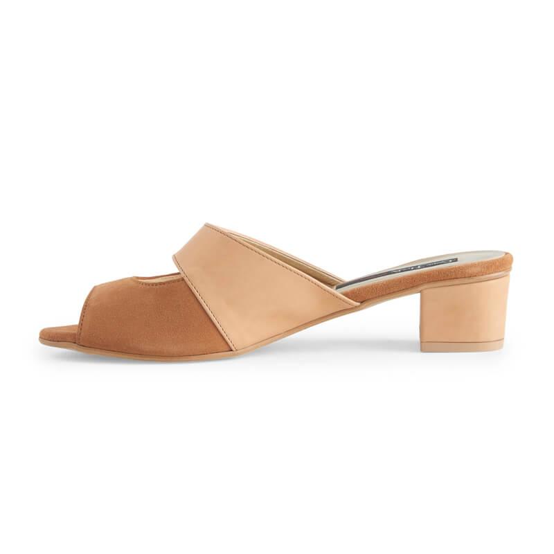 Bobbie camel leather & suede block heel mule