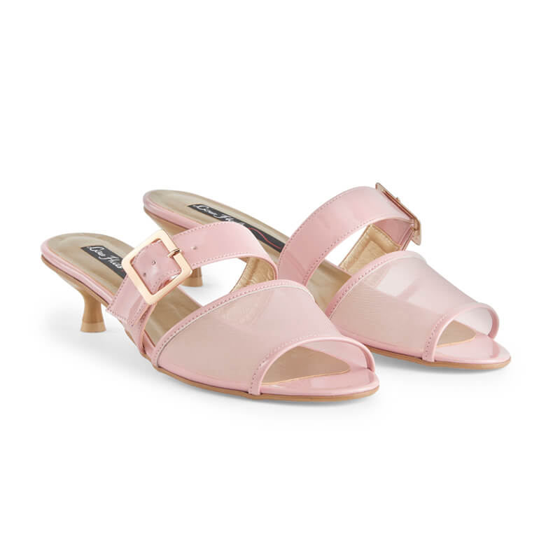 Bonbon pink leather & mesh sandals