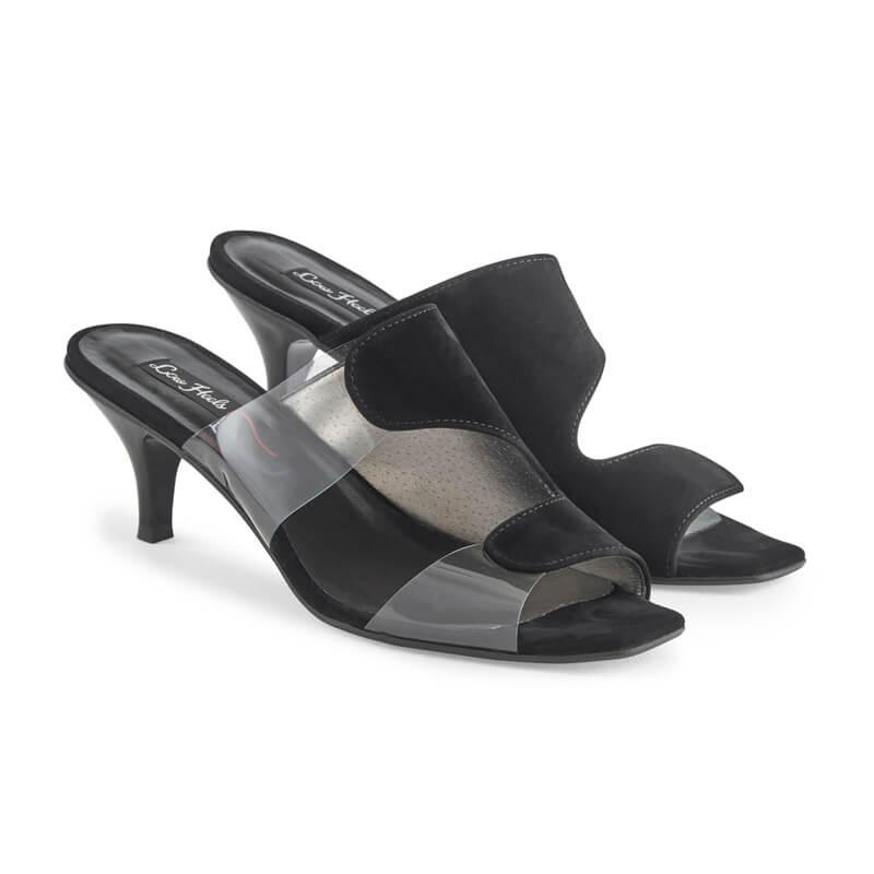 Marilyn black leather & plexi mules