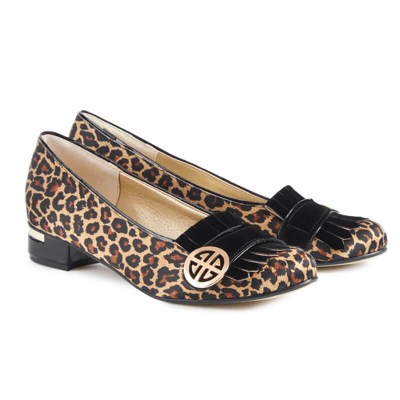 Ellen leopard print satin loafers