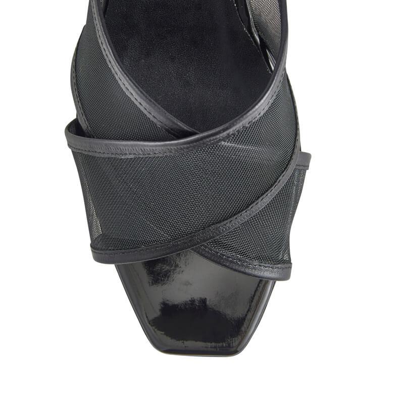 Vanessa black mesh kitten heel mules