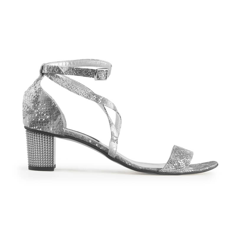 Margot silver snake print leather sandals