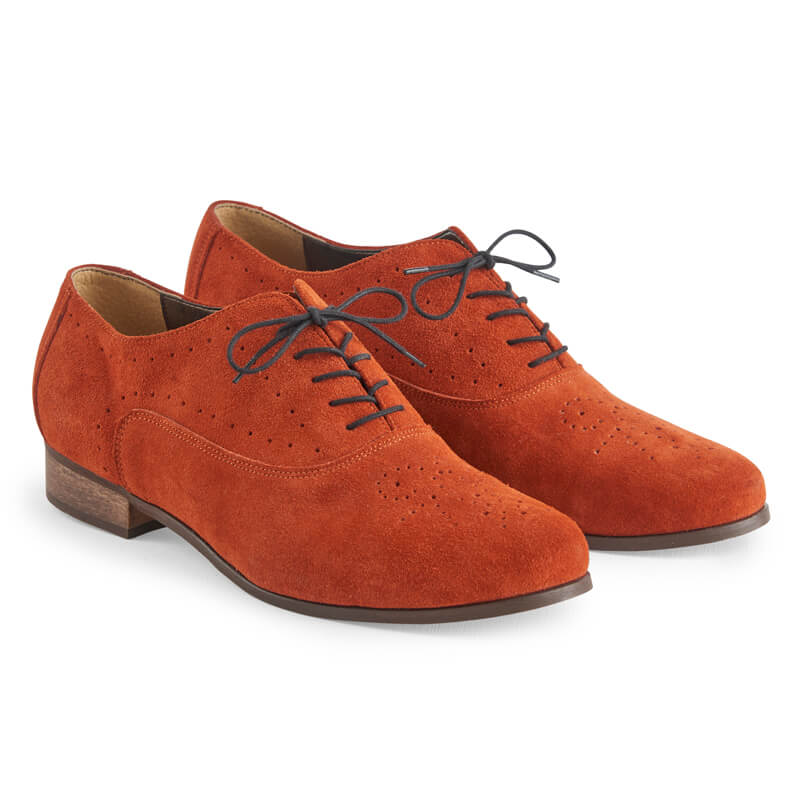 Camille burnt orange leather Oxfords