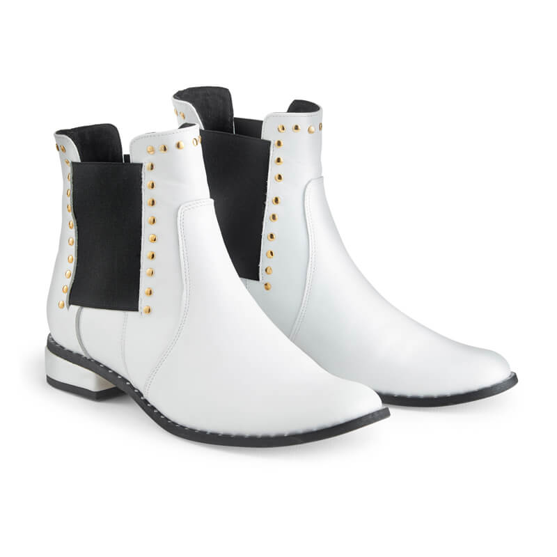 Ash white leather ankle boots