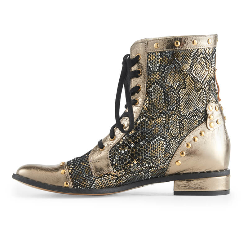 Goldie python print leather lace-up boots