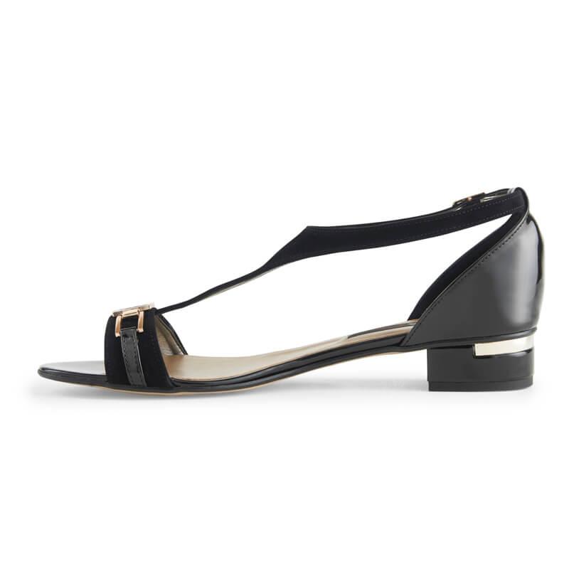 Edith black leather T-bar sandals