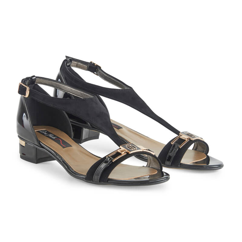 Edith black leather T-bar sandals