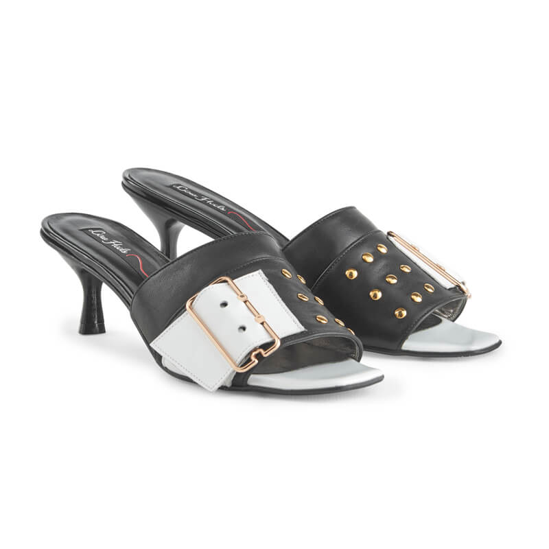Greta black leather buckle & stud mule