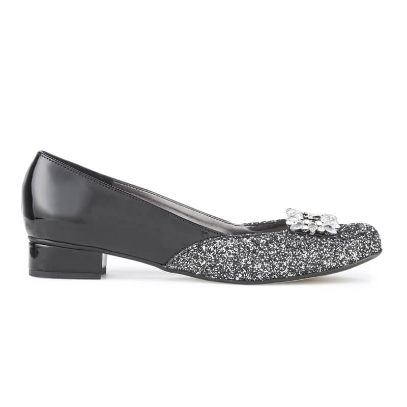 Star black glitter ballet pumps