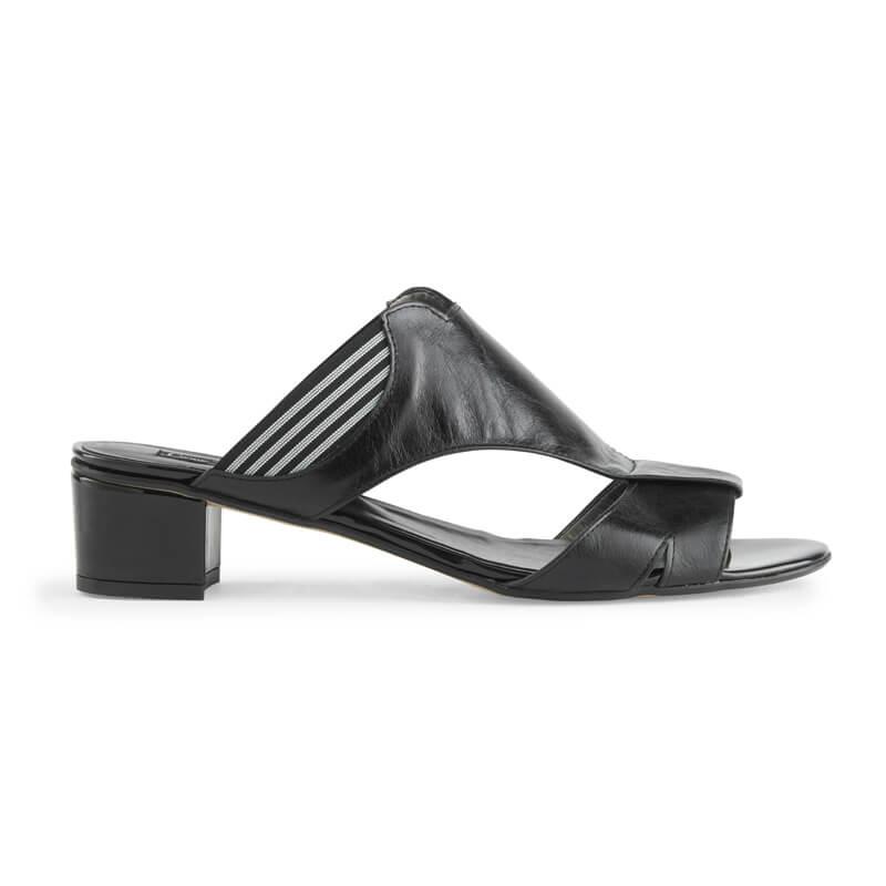 Ines black leather block heel mules