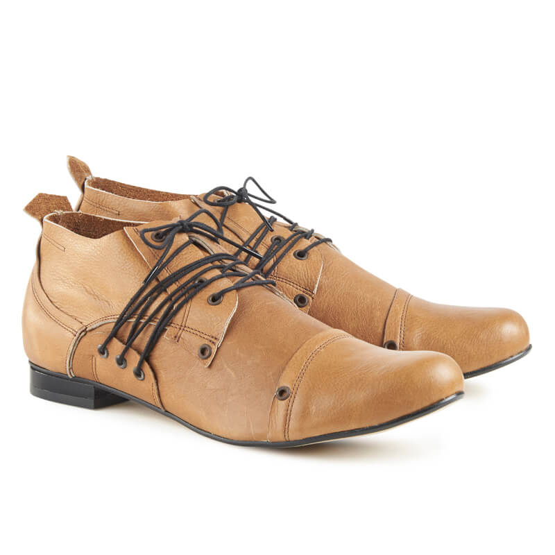 Giovani tan leather lace-up shoes
