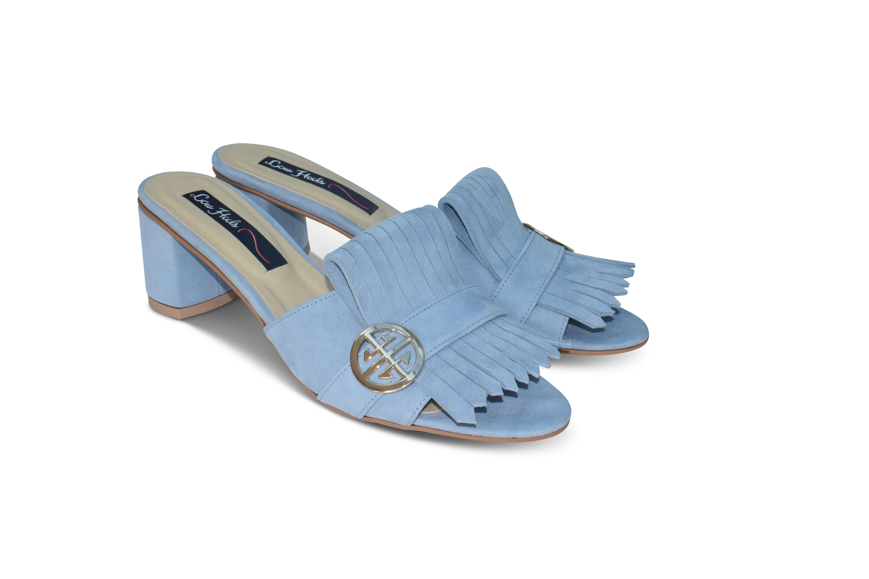 Seren block heel suede mules - blue