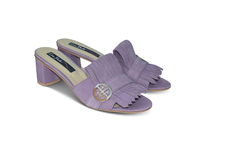 Seren block heel suede mules - lavender