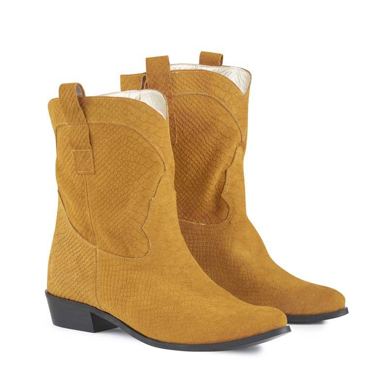 Texas Ochre Suede Cowboy Boots