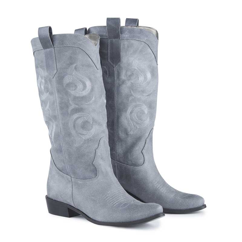 Texas Grey Suede Embroidered High Cowboy Boots
