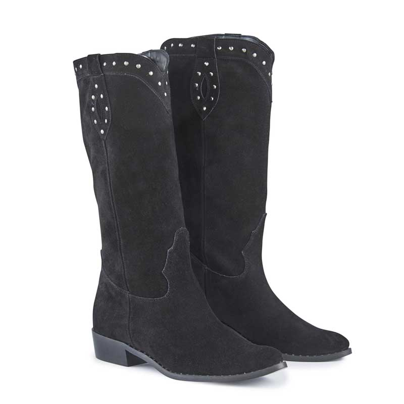 Texas Black Leather Stud High Cowboy Boots