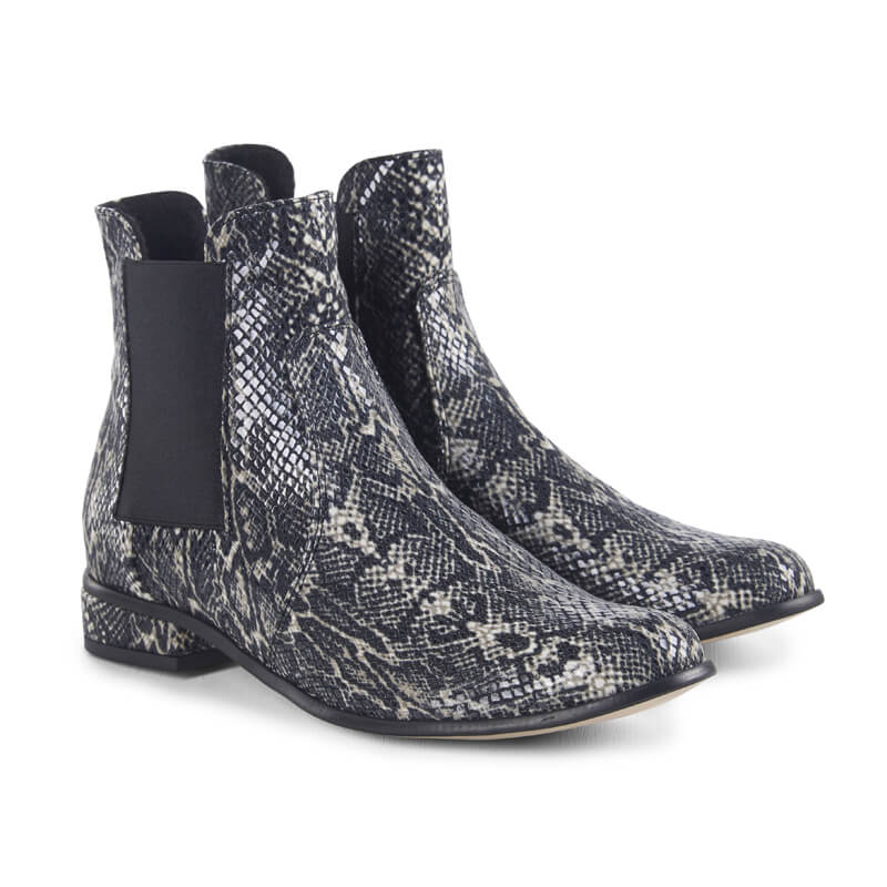 Python grey snake-effect leather ankle boots