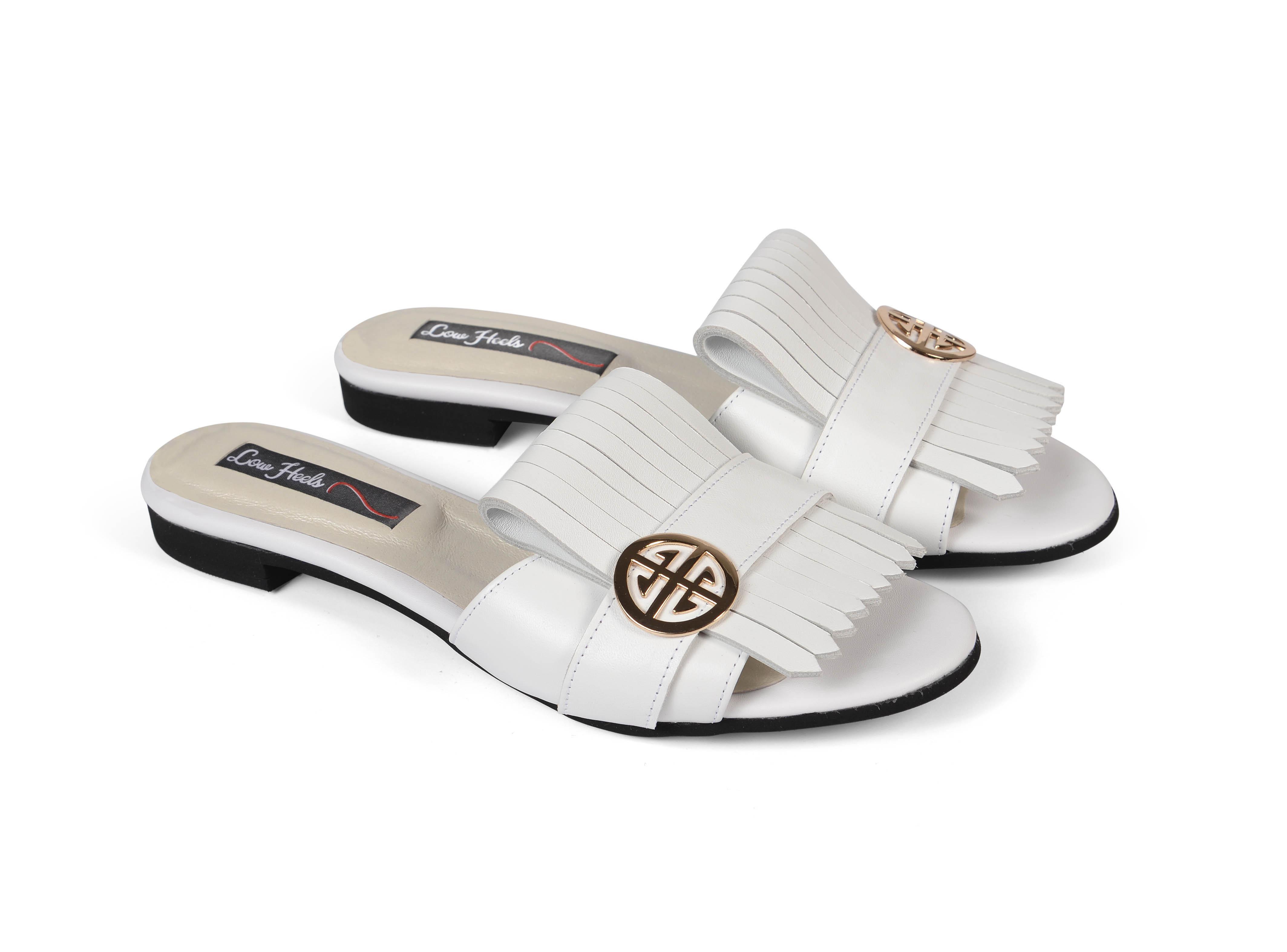 Seren F fringed sliders - white